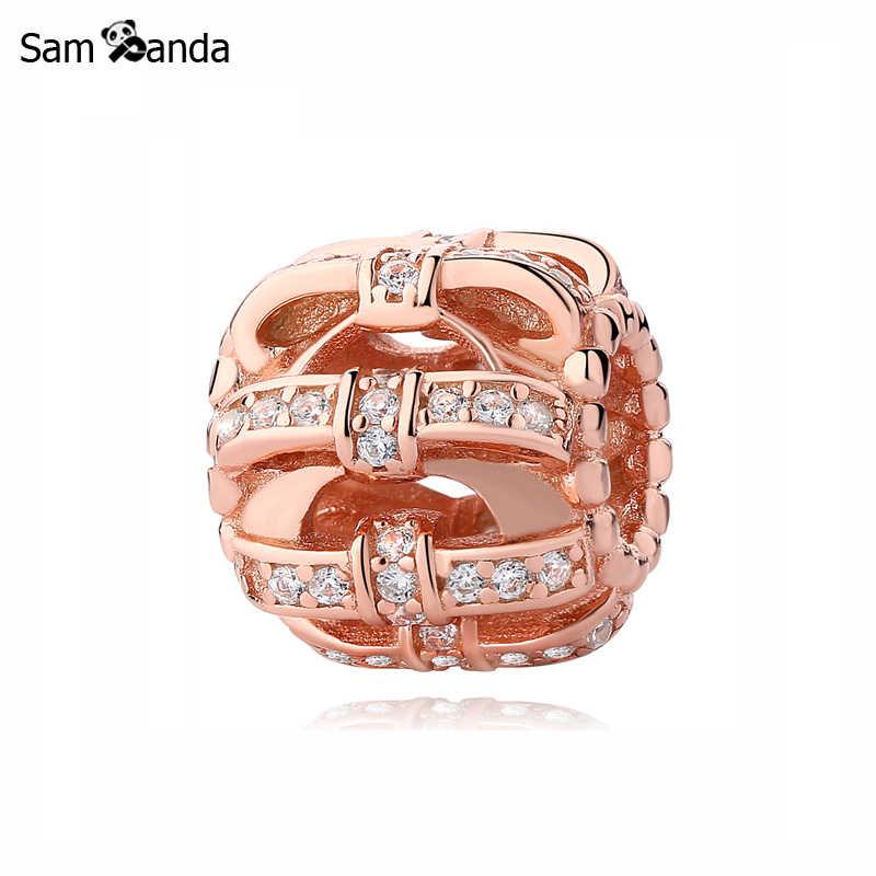Original 100% cuentas de plata de ley 925 con dijes brillantes dijes con lazo de oro rosa con pulseras de Pandora para mujer joyería DIY
