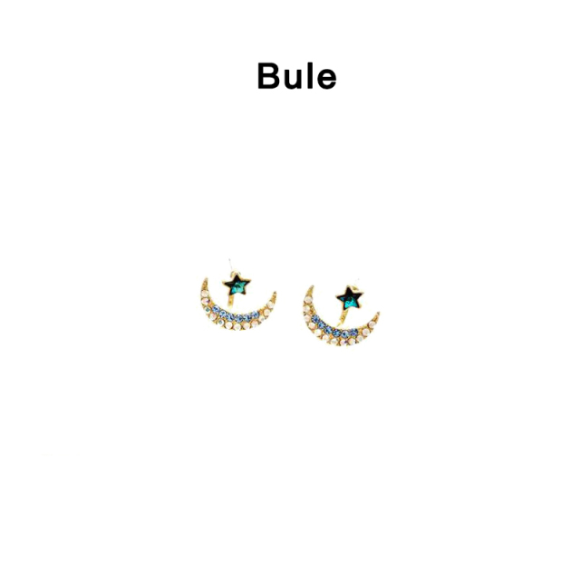 1 Pair Of Blue Moon Stars Zinc Alloy Metal Silicone Hanging Earrings Colorful  Crystal Earrings Earrings For Gorgeous Ladies