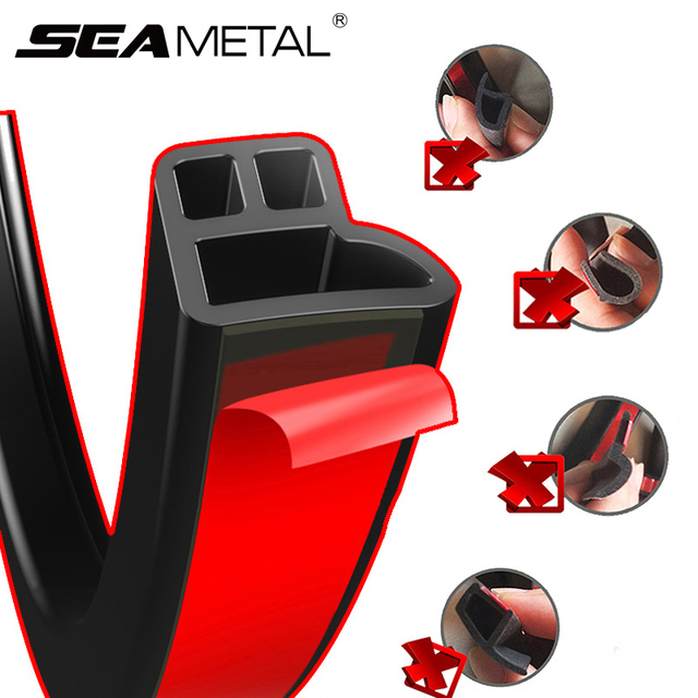 Seametal Car Door Sealing Strip sound insulation Car styling Sticker Rubber Seal Strips Adhesive Auto Edge Trim Noise Insulation