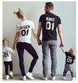 Rey Queen Conjuntos A Juego de La Familia de manga Corta de Algodón a juego de ropa de la familia Camiseta Familia Mirada de la Familia ropa a juego