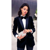 New Navy Velvet Jacket Womens Business Suits Navy Satin Lapel Female Trouser Suits Navy Cotton Blended Fabric Elegant PantS