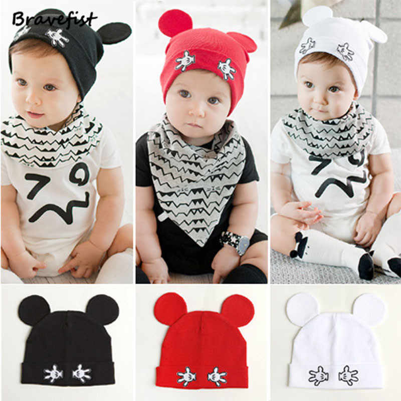 57570c489 New Mickey Newborn Caps 100% Cotton Autumn Winter Baby Hats From 6M-3T  Black White Red Child Warm Cap Toddler Beanies Hat Bone