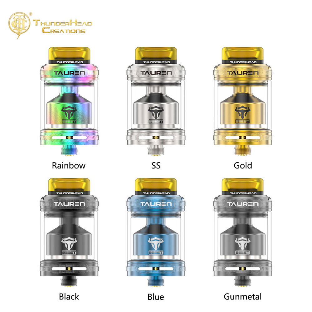 New Original THC Tauren RTA 2 ml/4.5 ml avec 26 Micro Hexagonale Miel Peigne Air Trous Unique Moletage conception VS Lapin Mort RTA