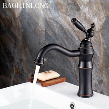 BAOLINLONG Black Antique Brass Basin Faucets Tap Vanity Vessel Sinks Bathroom Mixer Deck Mount Faucet Cold And Hot Water