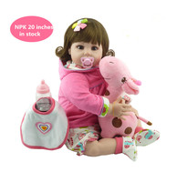 20 Bebe Doll Reborn Toys Soft Cloth Body Silicone Reborn Babies Pink Clothing Full Set Girl