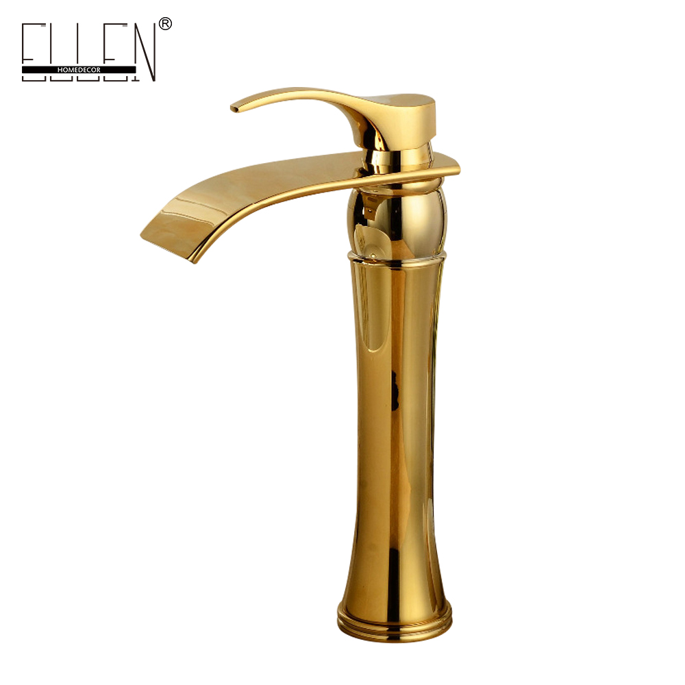 Vessel faucets gold finish bathroom basin tap  waterfall mixer for sink golden torneiras