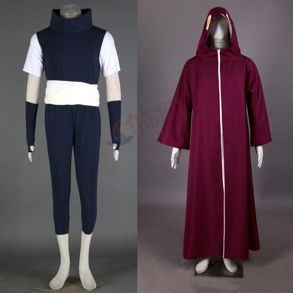 Athemis Anime Naruto cosplay Kabuto Yakushi Cosplay Costumes Unisex Outfits Red Cloak Casual Clothes Any Size