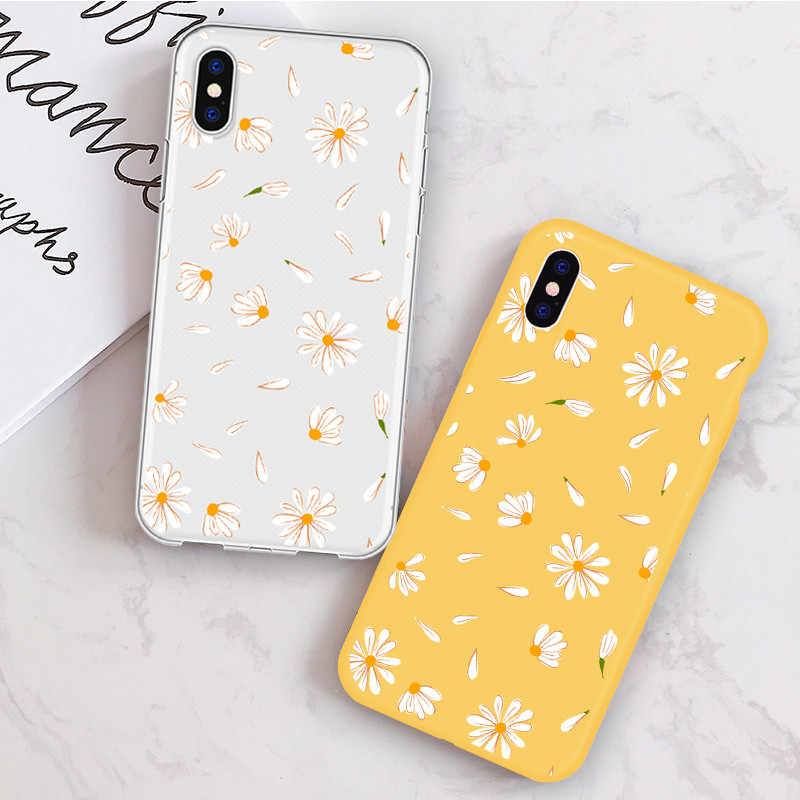 DIFFRBEAUTY Telefon Fall für iPhone 11 Pro Max SE2 2020X8 7 6Plus Candy Farbe Fällen für iPhone XR XS 11 Nette Daisy Blume Shell