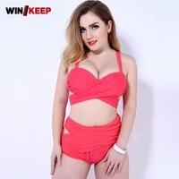 2019 New Bikini Women Bandage Swimsuit Strip Swimming Suit Bodysuit Large Size Ladies Swimwear Black Bathing Suit Big Women 5XL