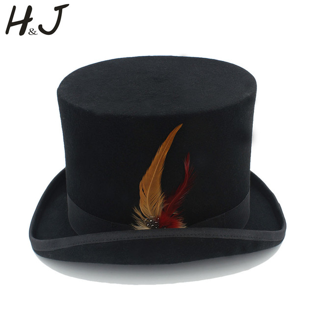 Black Top Hat 15cm(5.31inch) Wool Women Men Steampunk Top Hat With Feather dd07e0f8787a