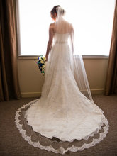 2017 New Lace Edge 3 Meters Wedding Veil Velos De Novia White Eyelash Lace Bridal Veil For Wedding Dresses