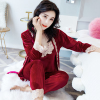 2019 new sexy pajamas set women velvet lace deep V sling + nightgown + pants 3 sets solid color comfortable home clothing winter