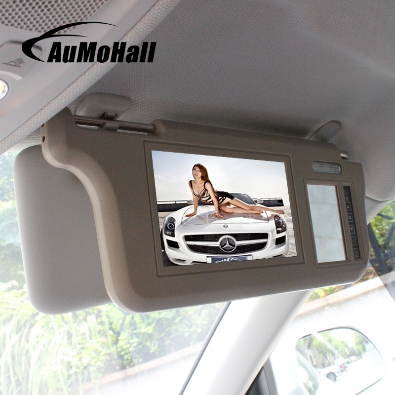 AuMoHall 7 inch TFT LCD Car Sun Visor Monitors Display Two Way Video Input Reversing Switch Priority Rearview Mirror Retrovisor
