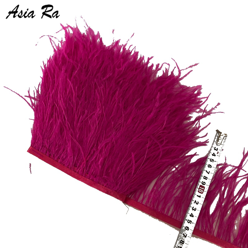 Wholesale 10 Meters 4 6 inch 10 15cm Hot Pink ostrich feathers Lace ribbons feather fringe