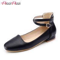 ZALAVOR Size 28 43 Ladies Ankle Strap Spring Pumps Women Round Toe Shallow Ballet Low Heel Shoes Women Sweety Dating Footwear