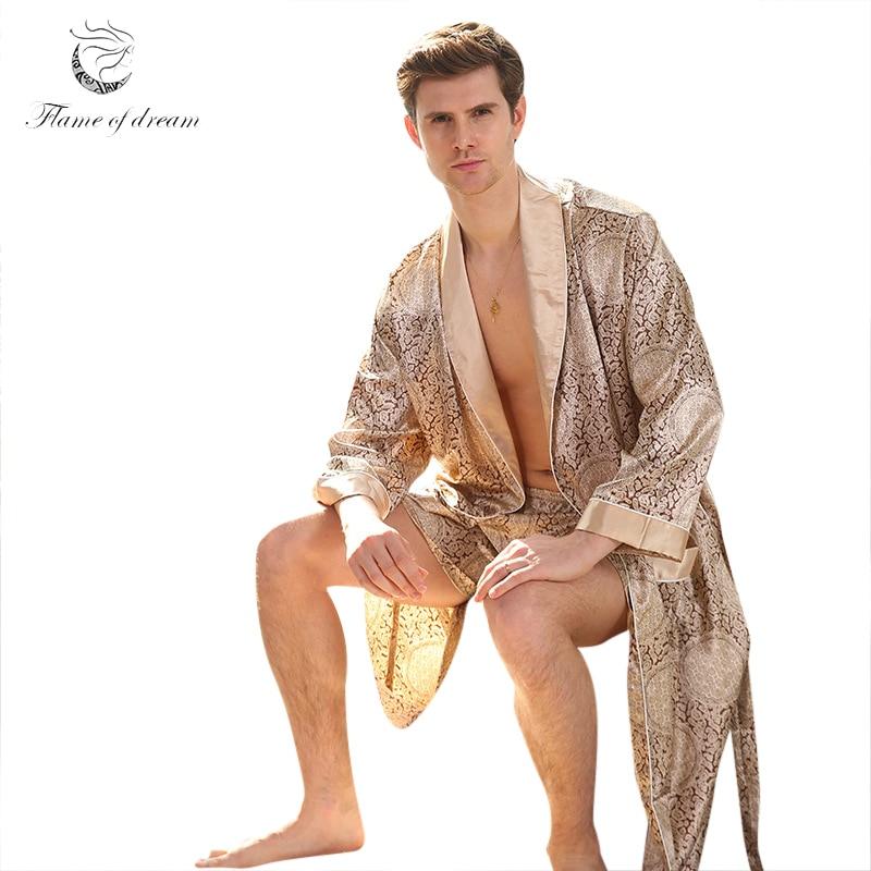 M-5xl Men Robe With Shorts 2 Pcs  Silk Kimono Men Silk Satin Robe Home Clothes Home Bathrobe Sexy Hombre Robe Male Summer 8804(China)