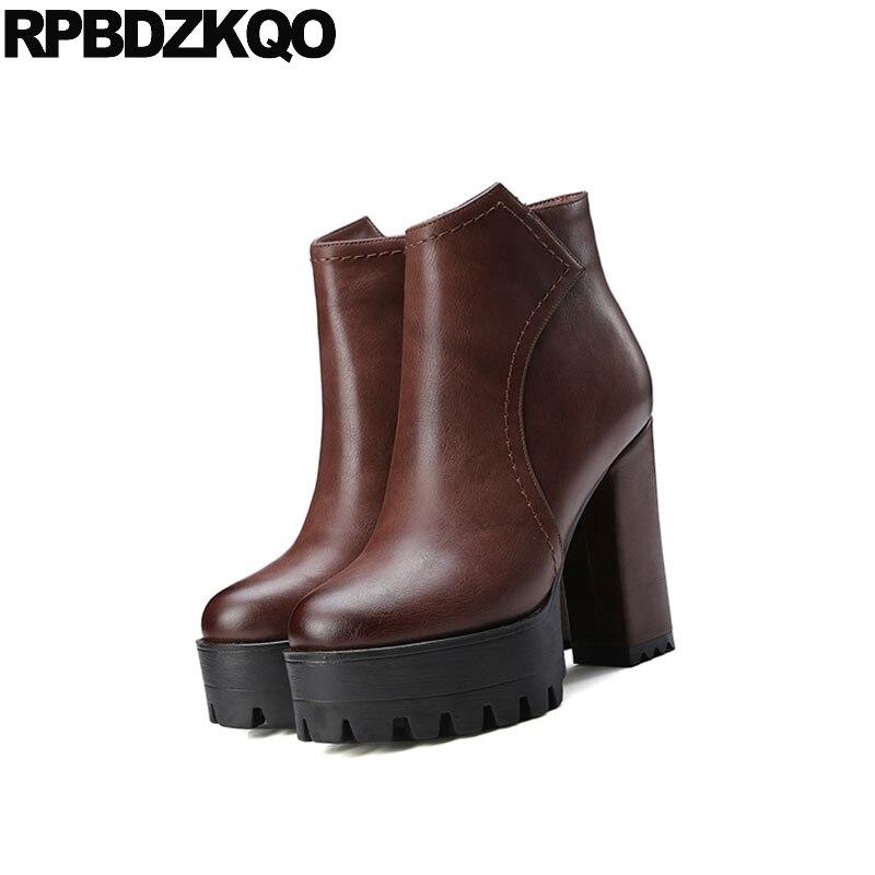 e Extreme Luxury Chunky Fetisch Gro nzer Boots Stiefeletten Gre Exotischer Wasserdichte Designerschuhe T 2018 Brown 10 SchwarzBraunGrauKamel Damen High Damen Heels lcKT1FJ
