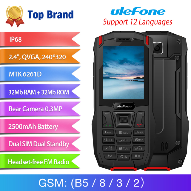 "Ulefone Armor Mini IP68 Waterproof Outdoor Adventures Phone 2.4"" MTK6261D Wireless FM Radio 2500mAh 0.3MP Dual SIM Cellphone 1"