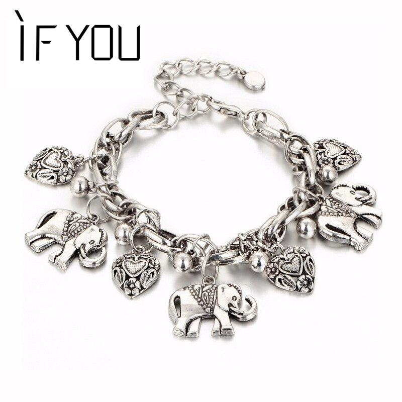 Se você vintage prata cor elefante charme pulseira para homens boêmio pulseiras pulseira pulseira pulseira feminina presente da jóia