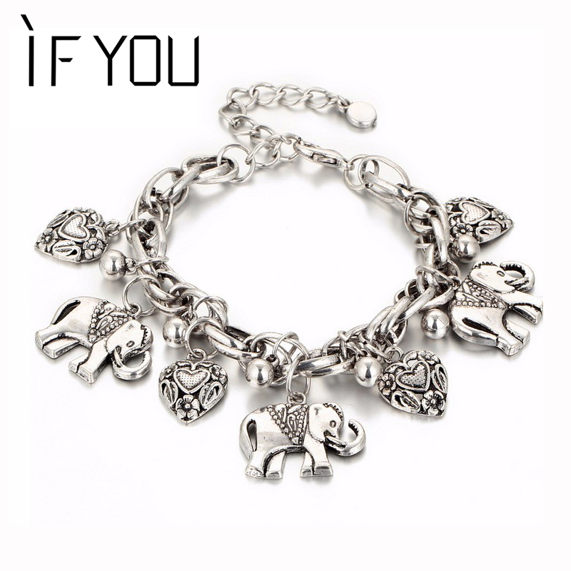IF YOU Vintage Silver Color Elephant Charm Bracelet For Men Bohemian Statement Bracelets Bangles pulseira Feminina Jewelry Gift