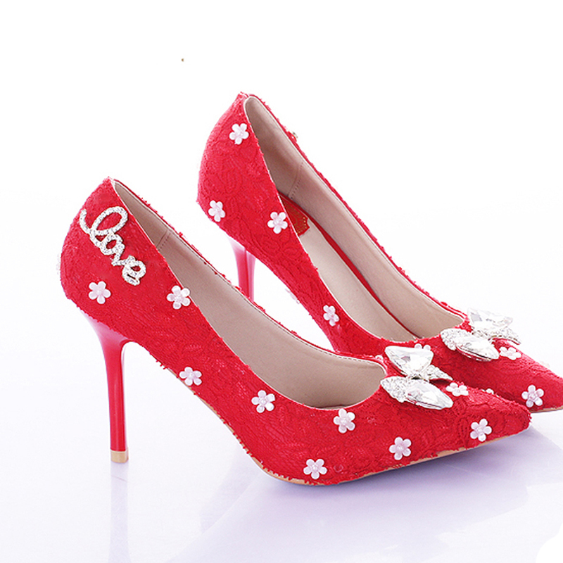 ФОТО Elegant Red Lace Pointed Toe Thin Heels Dress Shoes Bridal High Heels Wedding Shoes Bowknot Bridesmaid Shoes Popular Women Pumps