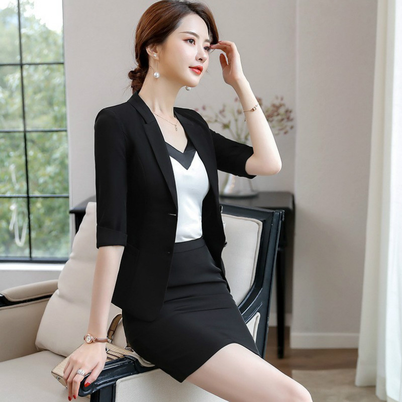 Women's New Professional Women's Suit 2019 New Overalls Slim Short-sleeved Small Suit Jacket Fashion Pants And Skirt Two-piece