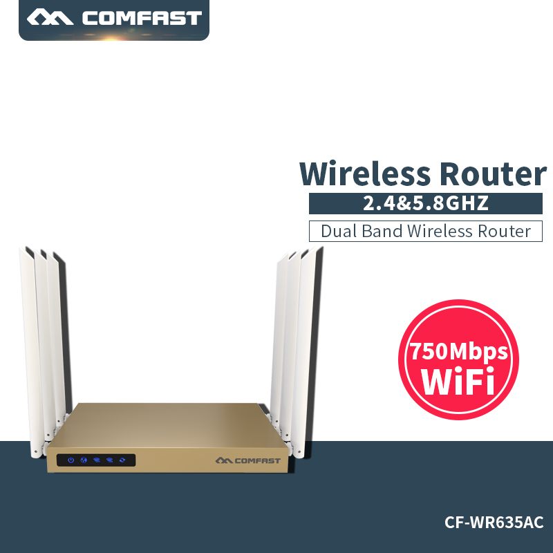 COMFAST 750mbps dual band router 2.4ghz+5.8ghz wifi access point WiFi router 802.11B/G/N/AC 600 square meters coverage comfast ac200 orange os system full gigabit wifi control ac gateway routing wireless roaming wifi coverage project manager route