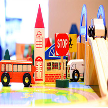 1Set Wooden City Track Overpass Traffic Scene Combination Educational Toy Train Disassembly Toys