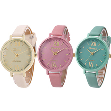 Geneva Fashion Women Slim Faux Leather Roman Numerals Quartz Dress Wrist Watch