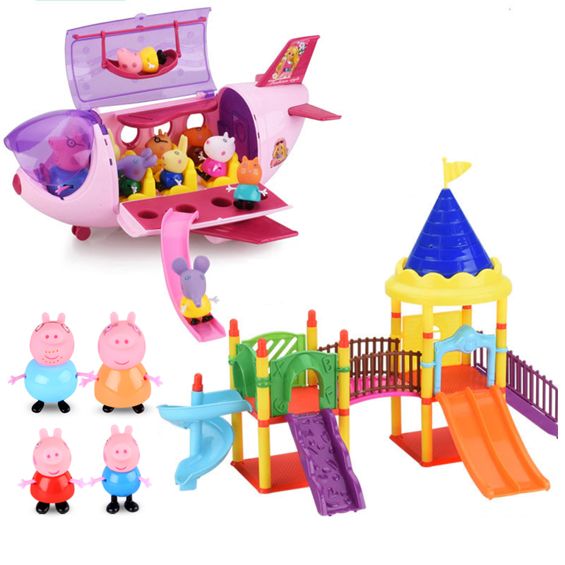 Peppa Pig Villa George Pig Action Figures Toy Peppa Pig George Friends Soft Head Doll Field Dining Car Scene Kids Toy Gift