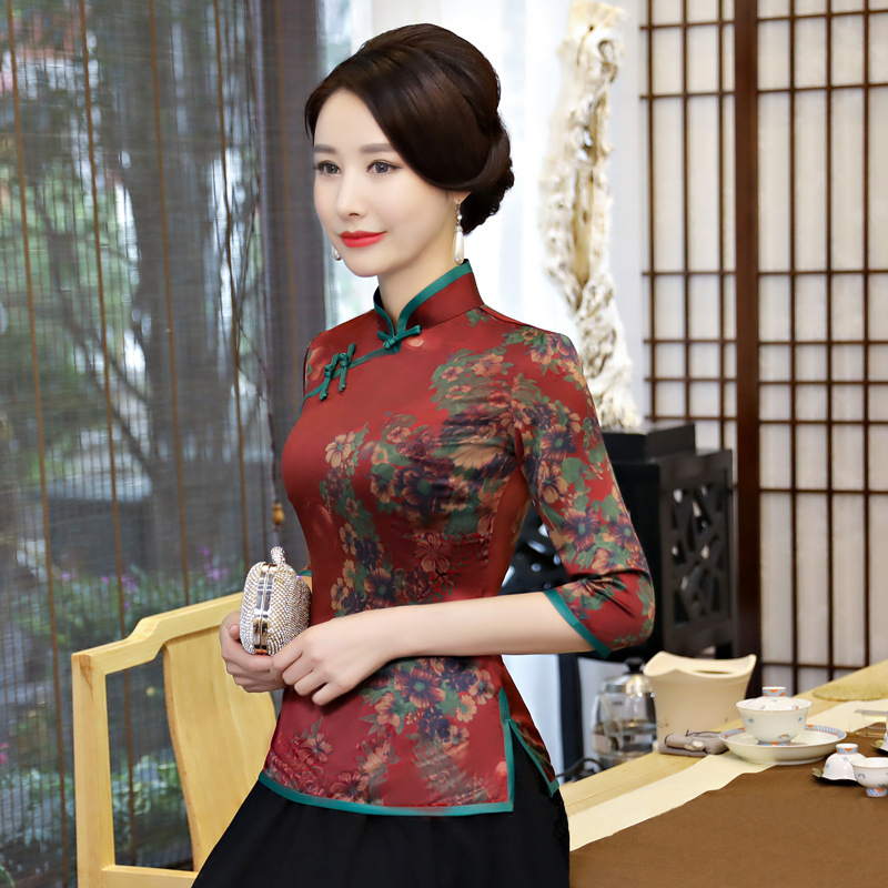 Women New Classic Shirt Plus size 3xl 4xl Retro Improved Lady Print Flower Blouse Top Chinese Female Plate Buttons Tea Clothing