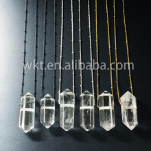 WT-N166 Hot sale natural double point Raw Crystal quartz necklace gold trim beads chain necklace jewelry gift