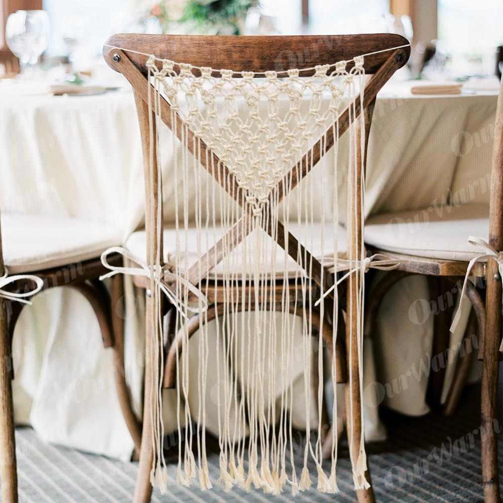 ... OurWarm Boho Wedding Bride Groom Chair Decoration Macrame Wall Hanging  Chair Back Cover Backdrop Home Wedding ...