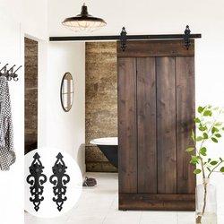LWZH 6.6FT/7FT/9FT сверхпрочные раздвижные двери сарая современное деревянное оборудование для раздвижной двери сарая комплект черный стальной ро...