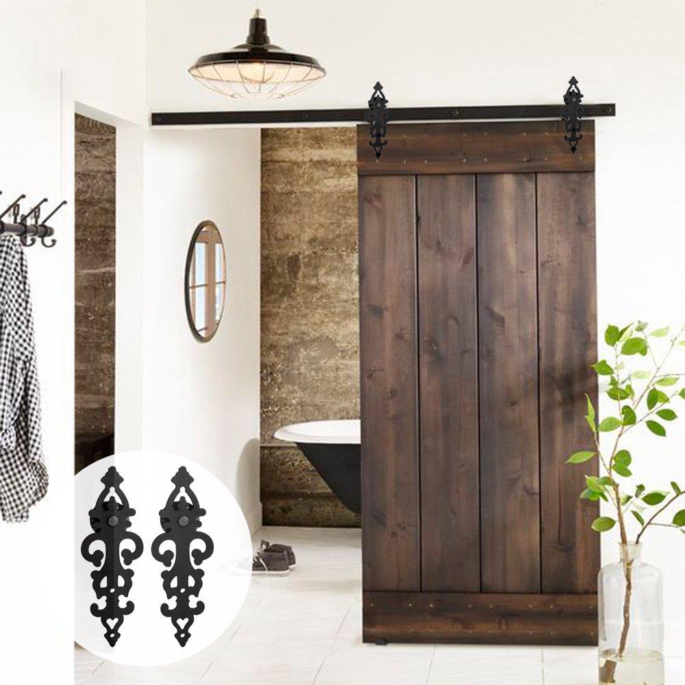 LWZH 6.6FT/7FT/9FT porte de grange coulissante robuste en bois moderne Kit de matériel de porte de grange coulissante rouleau en acier noir pour porte simple