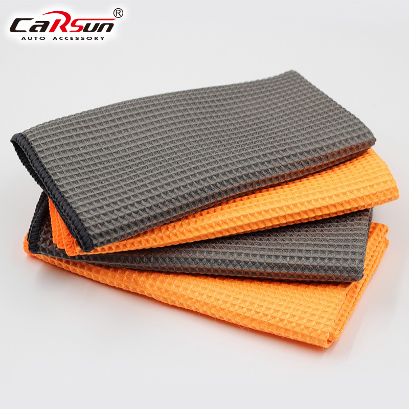 Car Microfiber Glass Cleaning Towels With Waffle Weave Best Water Magnet Drying Cloth for Car, Bath, Kitchen & Dogs