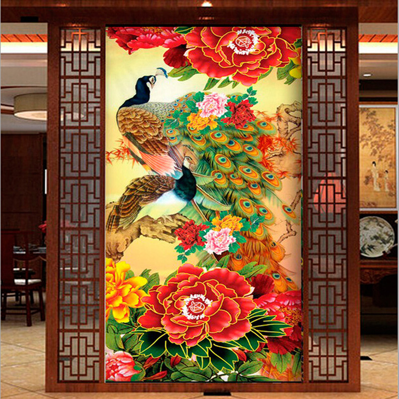 Китайский павлин вышивка