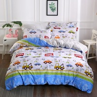 Kids Boys Bedding Set Cars Vehicles Duvet Cover Soft Kids Duvet Cover Set Quilt cover 100% Cotton Bed Set
