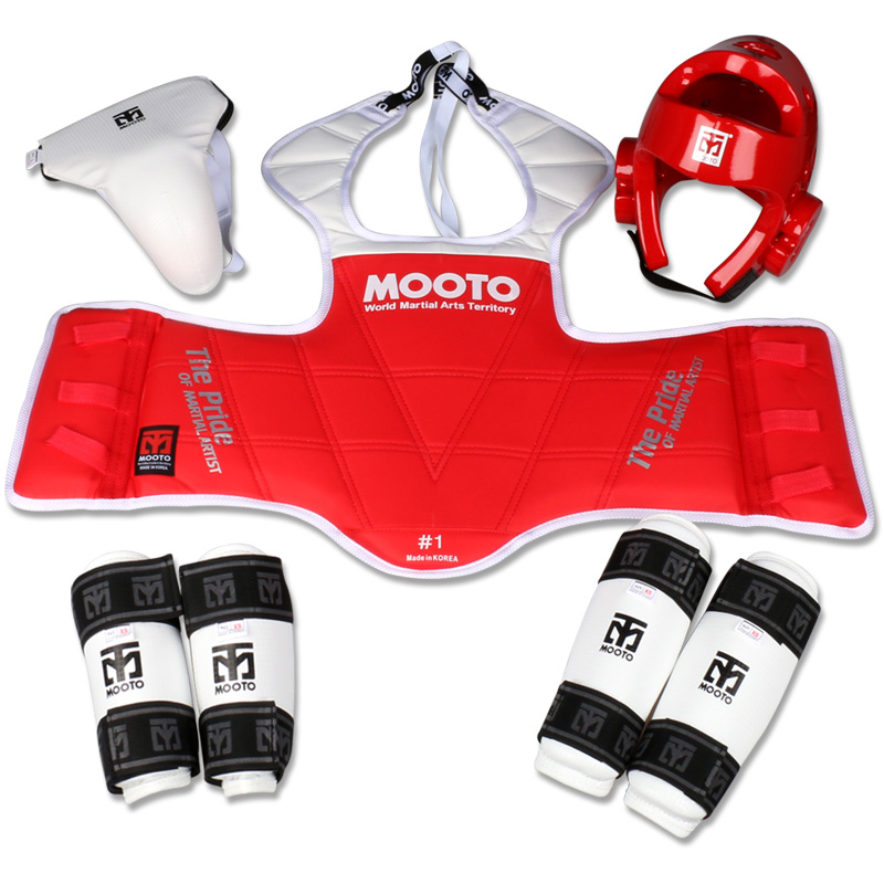 Mooto Taekwondo protectors karate groin guards chest guard arm leg protector muay thai supporter ProForce shin headgear Helmet jduanl 1pc left right thick leg support boxing pads muay thai mma legs guards protector trainer combat sanda karate training deo