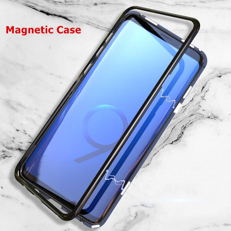 De Lujo caso magnético para Samsung Galaxy S9 S8 más S7 borde Nota 8 9 Metal Magneto cubierta imán Fundas para Huawei P20 Lite Pro