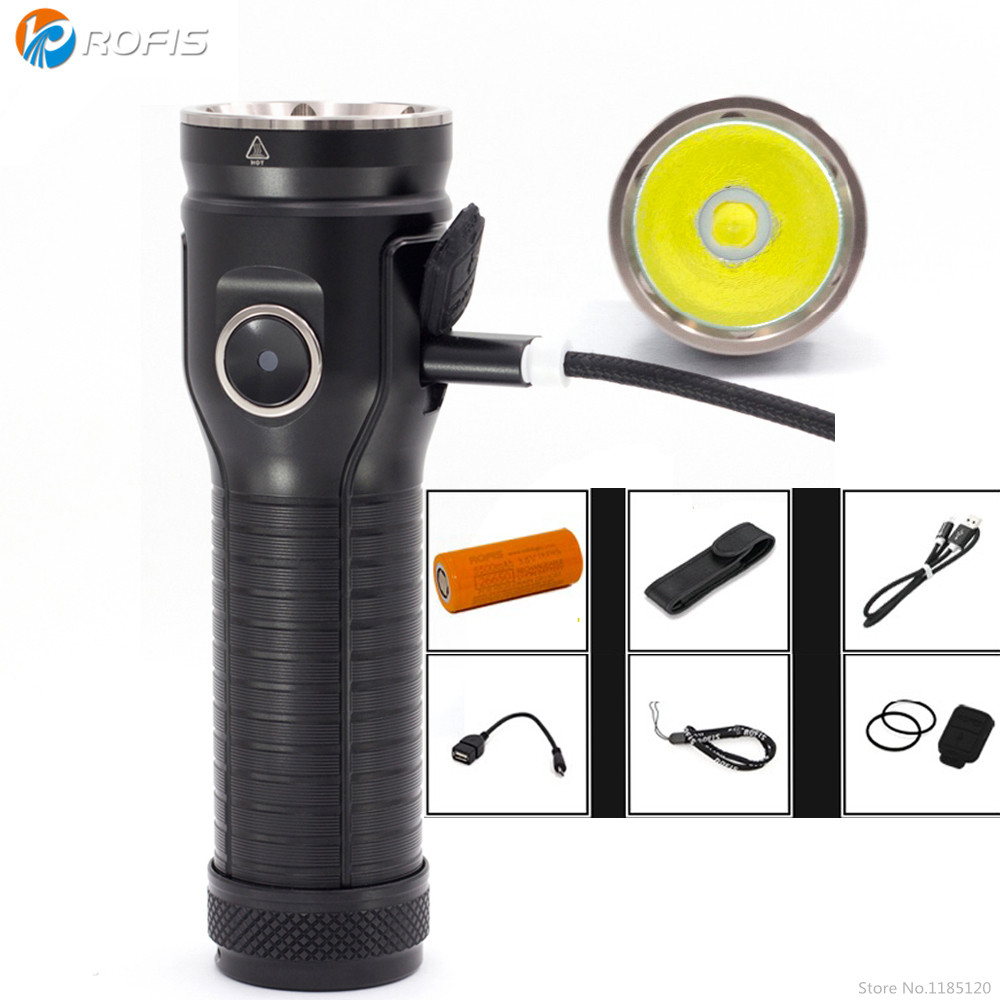 Rofis MR70 Rechargeable Flashlight CREE XHP70 2 XP G2 LED 3500 lumen beam distance 248m outdoor
