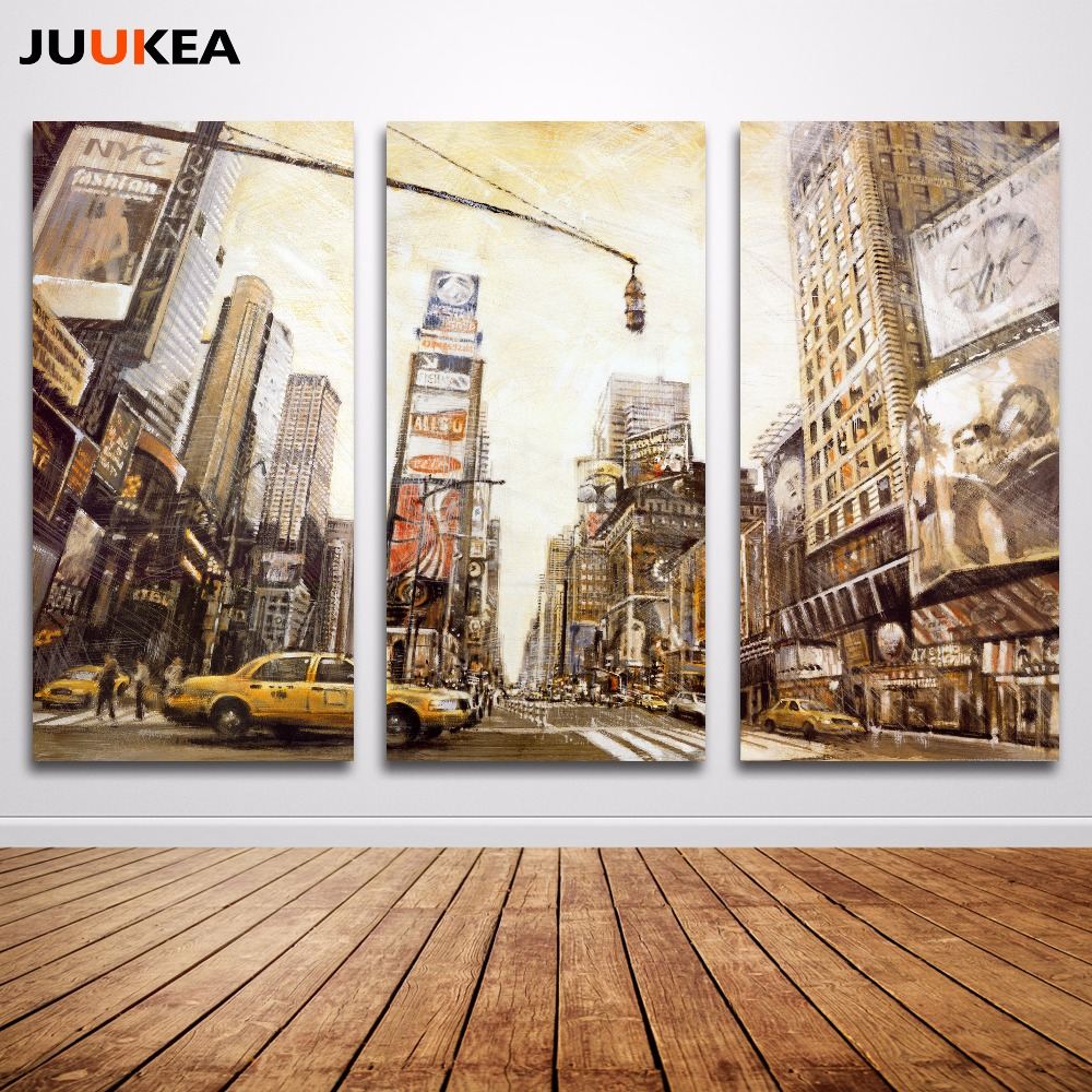 3 Panels New York City Scenery Vintage Style Poster