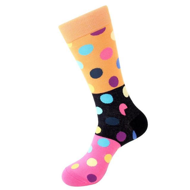 Jhouson 1 pair Colorful Men's Cotton Crew Funny Wedding Socks Classic Dot Pattern Novelty Skateboard Socks 4