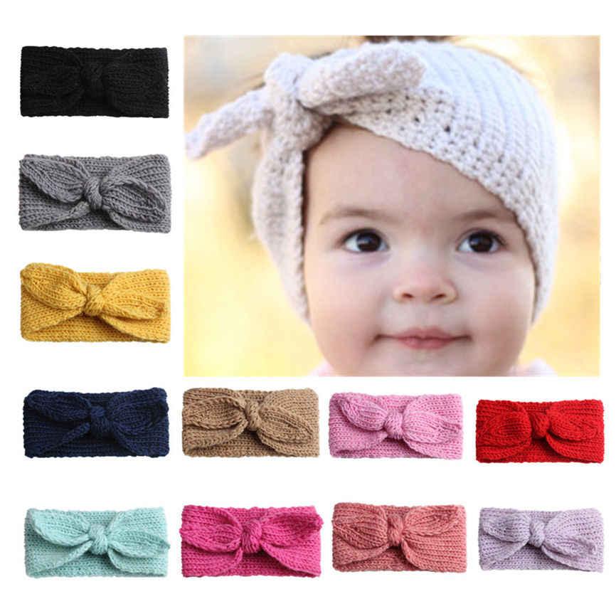 eadb2d877 Diadema con lazo de conejo de lana para niñas y bebés diadema turbante nudo  cabeza envolturas