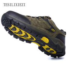 Man Breathable Gray Mountain Climbing Outdoor Shoes Sports Shoes Suede Leather Trekking Sneakers Male Waterproof Hiking Shoes цена