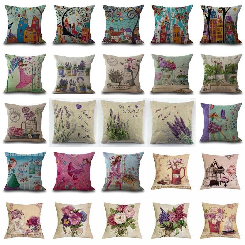 Provence Kissen Lavender Decorative Pillows Sofa Cushion Cover Vintage Pillows Flowers Linen Throw Pillows Home Decor Pillow