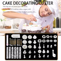 55PCS Set Fondant Decorating Sugar Cake Tools Plastic Craft Plunger Cutter Tools Cookie Cutter Cake Mold