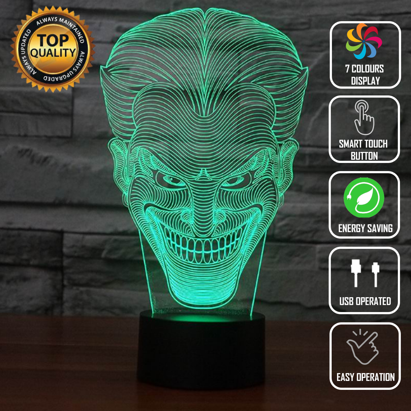 Touch Led Lampled Lamp Joker Batman Dark Dc 3D Acrylic Led 7 Colors Night Light Touch Ta ...