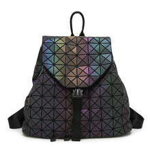 2016 New BaoBao Luminous backpack female Fashion Girl Daily backpack Geometry Package Sequins Folding Bags school bags With logo