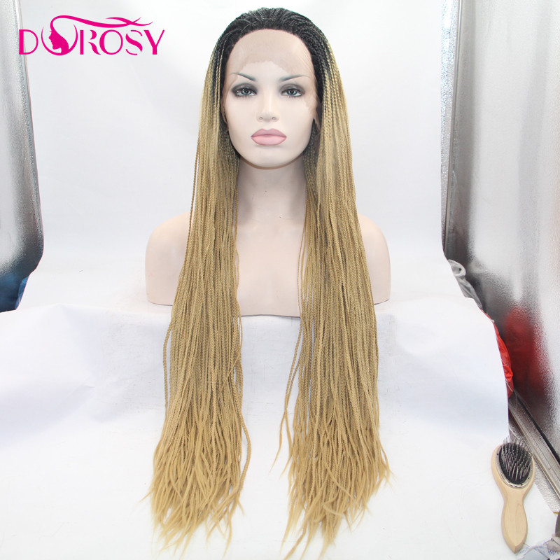 DOROSY HAIR High Temperature Fiber Crochet Braids Synthetic Lace Front Wig Long Straight For Women Dark Roots